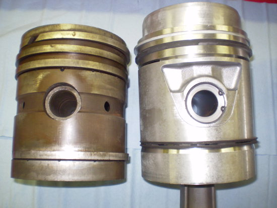 Comparing original piston to the new piston