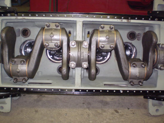 Bottom of twin city engine showing crankshaft